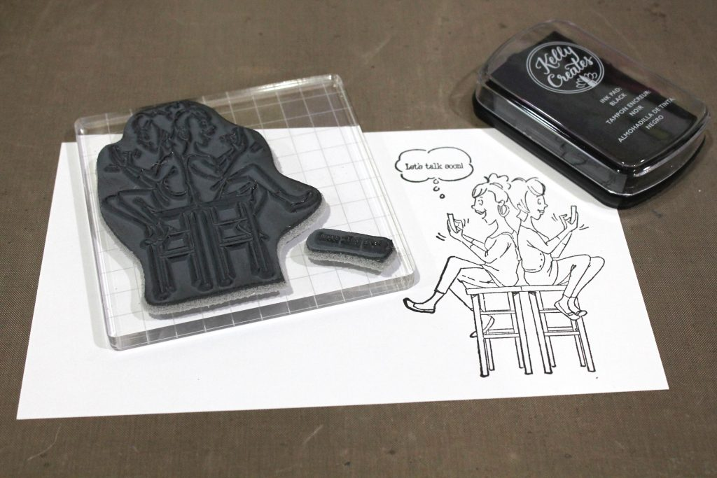 Stamping an Art Impressions Stamp with American Crafts Kelly Creates ink.