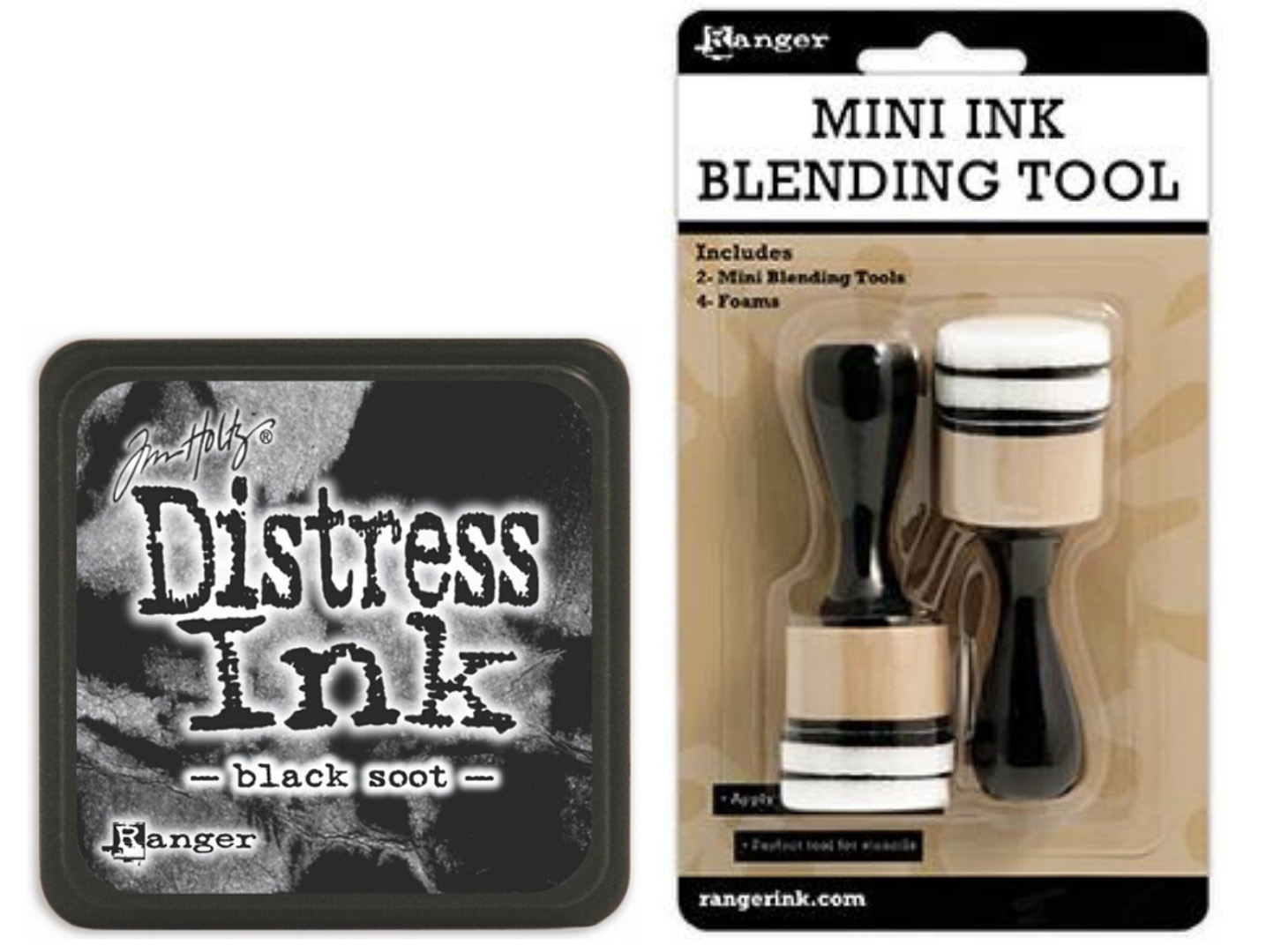 Ranger Black Soot Destress ink and mini blending tool