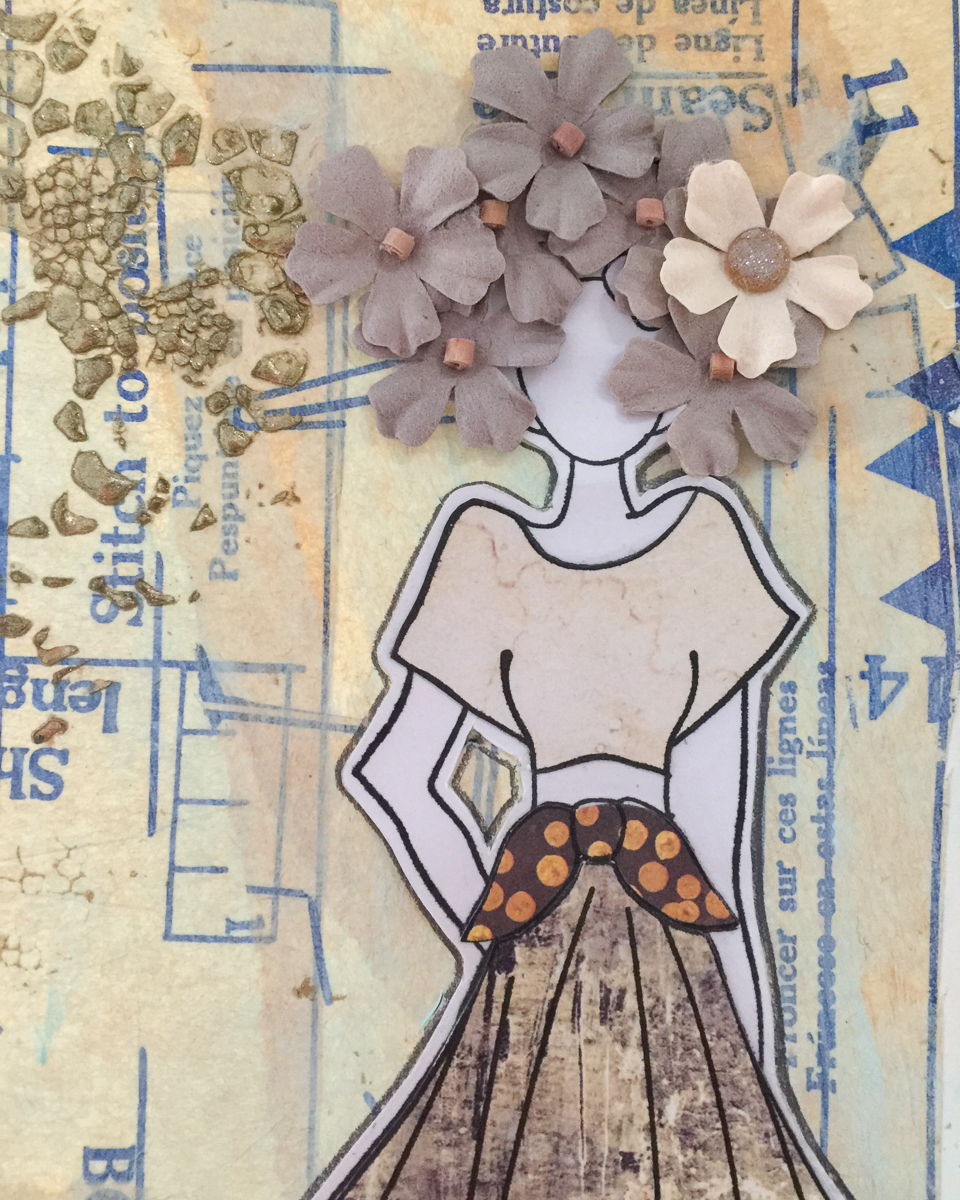 Paper piecing with Prima Marketing's Julie Nutting stamps and Amber Moon papers