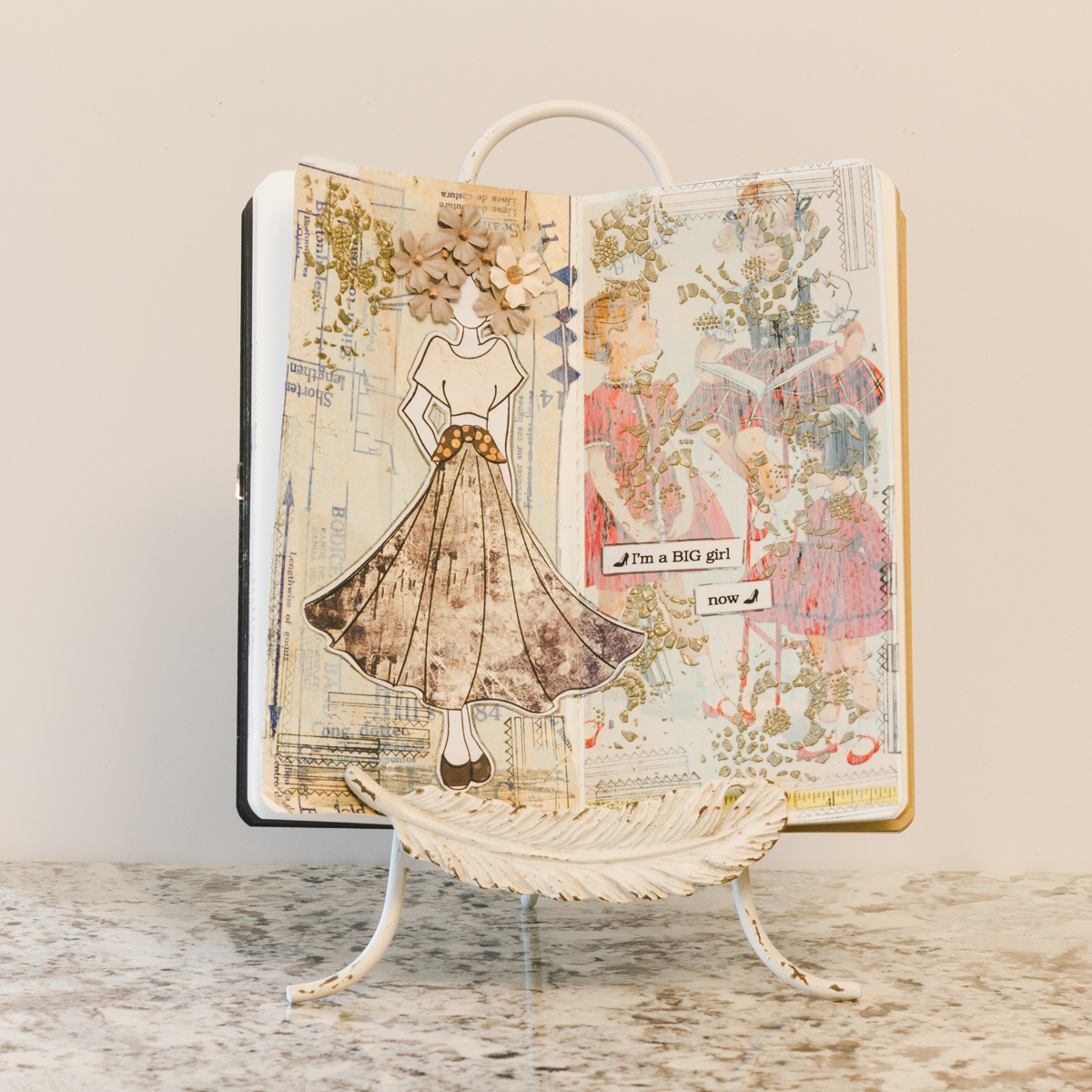 Mixed Media page using Prima Marketing products and Vintage sewing patterns