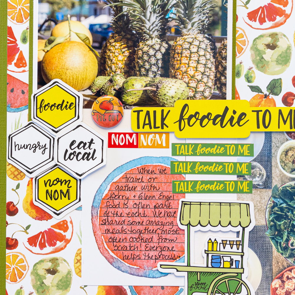 Creative Scrapbooker Magazine's April Sketchy Challenge / Wild Whisper Designs Talk Foodie To Me collection / scrapbooking food / Kelly Cretes Black Fineliners ~ perfect for journalling