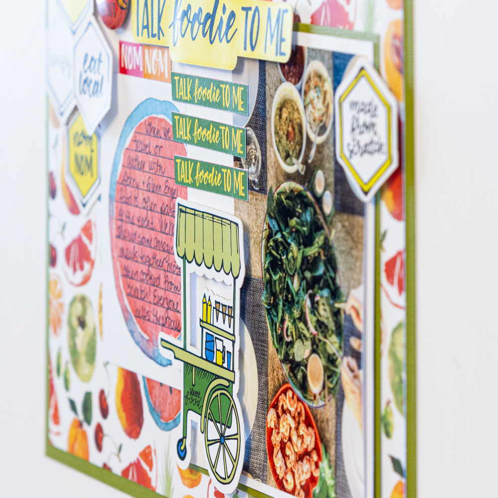 Creative Scrapbooker Magazine's April Sketchy Challenge / Wild Whisper Designs Talk Foodie To Me collection / scrapbooking food / Adding dimension with Scrapbook Adhesives by 3L 3D foam squares