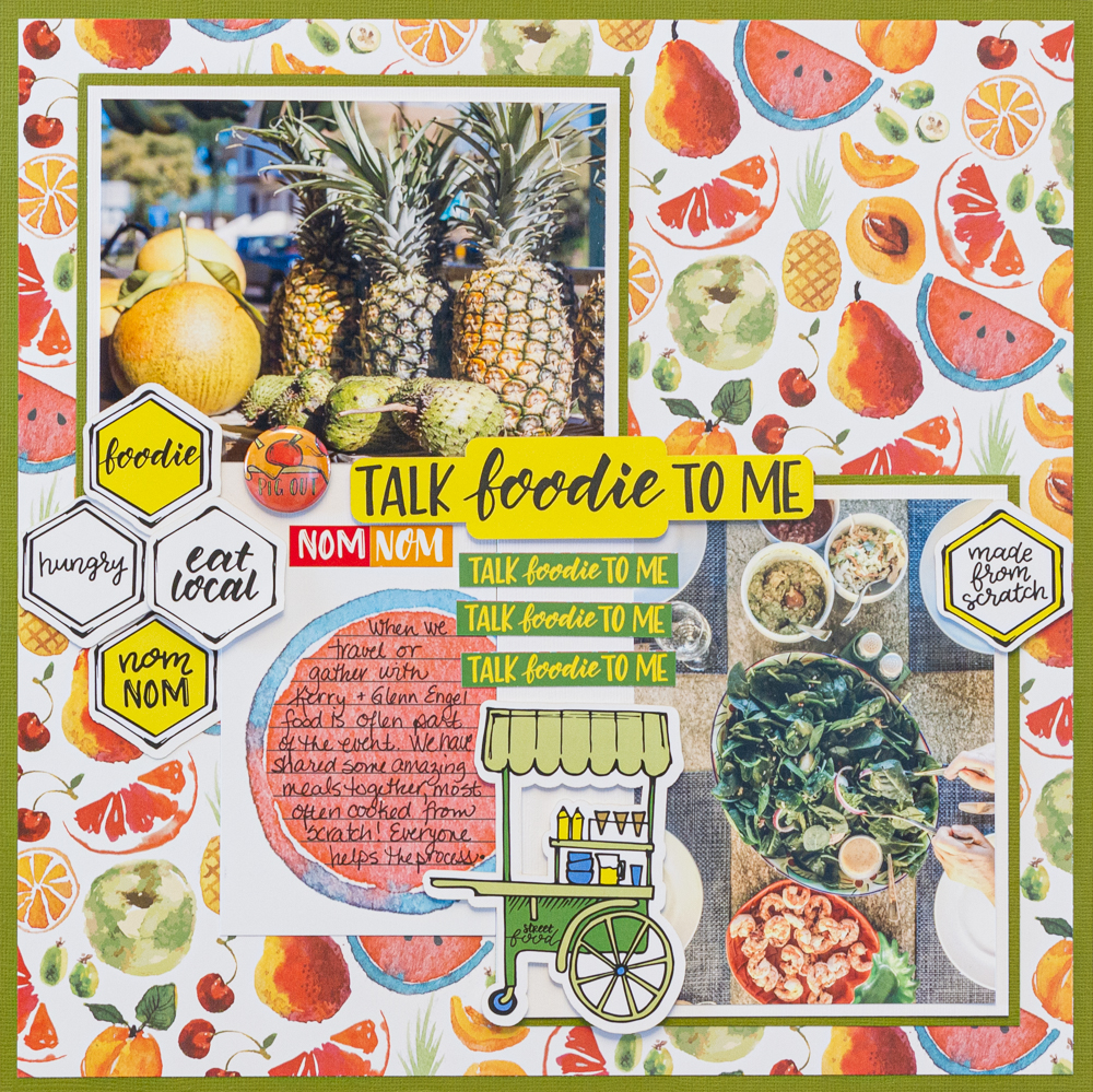 Creative Scrapbooker Magazine's April Sketchy Challenge / Wild Whisper Designs Talk Foodie To Me collection / scrapbooking food