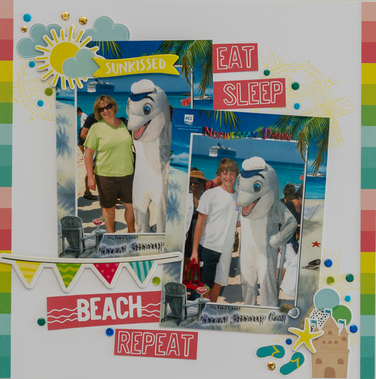 Simple Stories/Hello Summer/GLue Dots/Colourful beach layout by Kim Gowdy