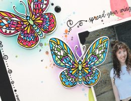 Details of a Butterfly Layout designed by Tracy Mclennon featuring Pink & Main