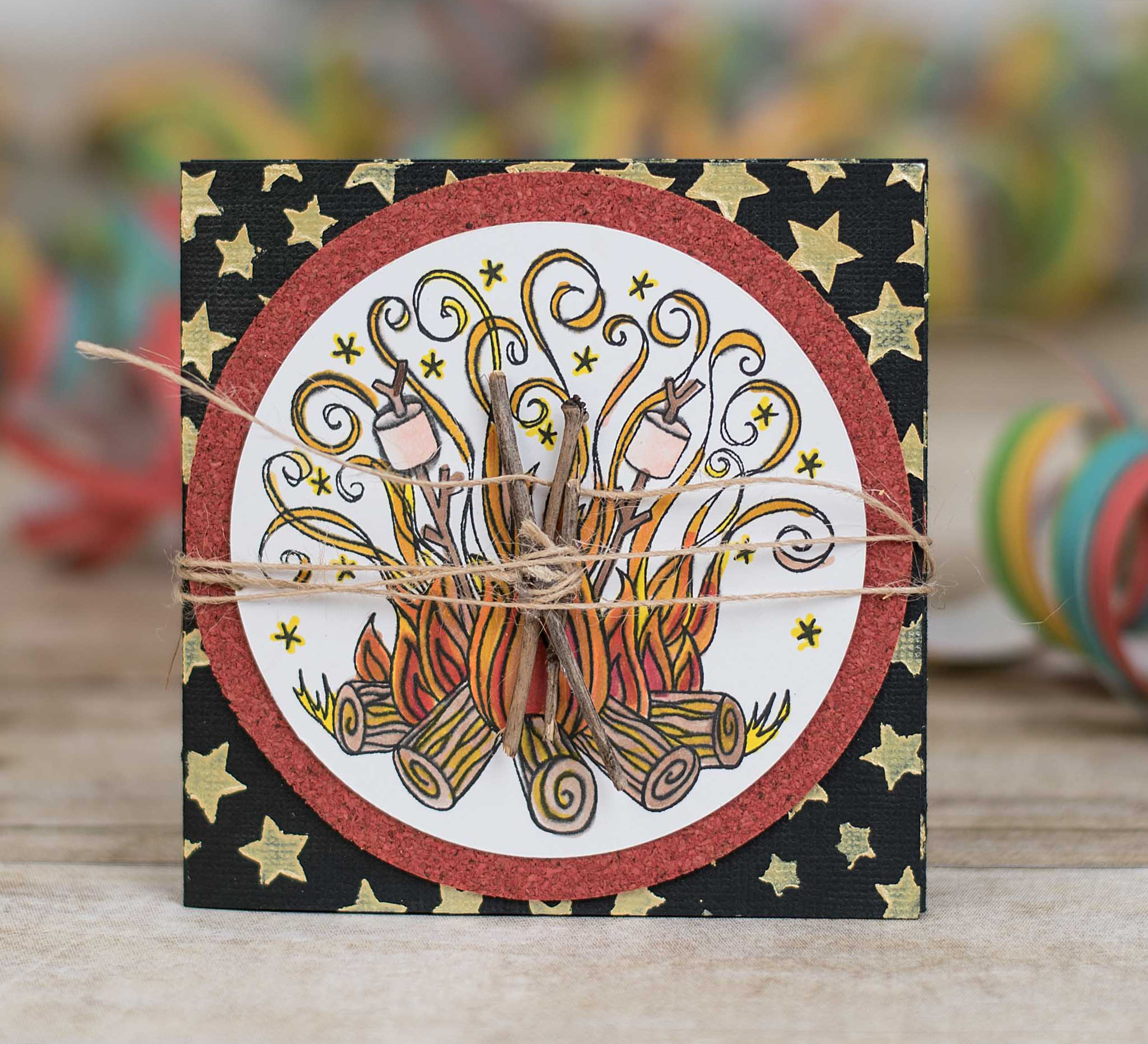 Campfire Stamp used to create a fun invitation featuring Impression Obsession designed by Kim Gowdy