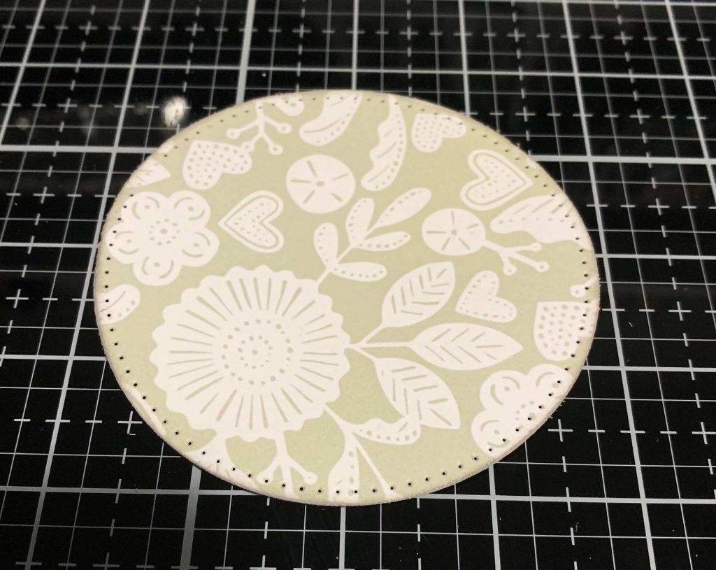 Circle cut from Always & Forever patterned paper by Wild Whisper Designs using Elizabeth Craft Designs Stitched Squares and Circle dies