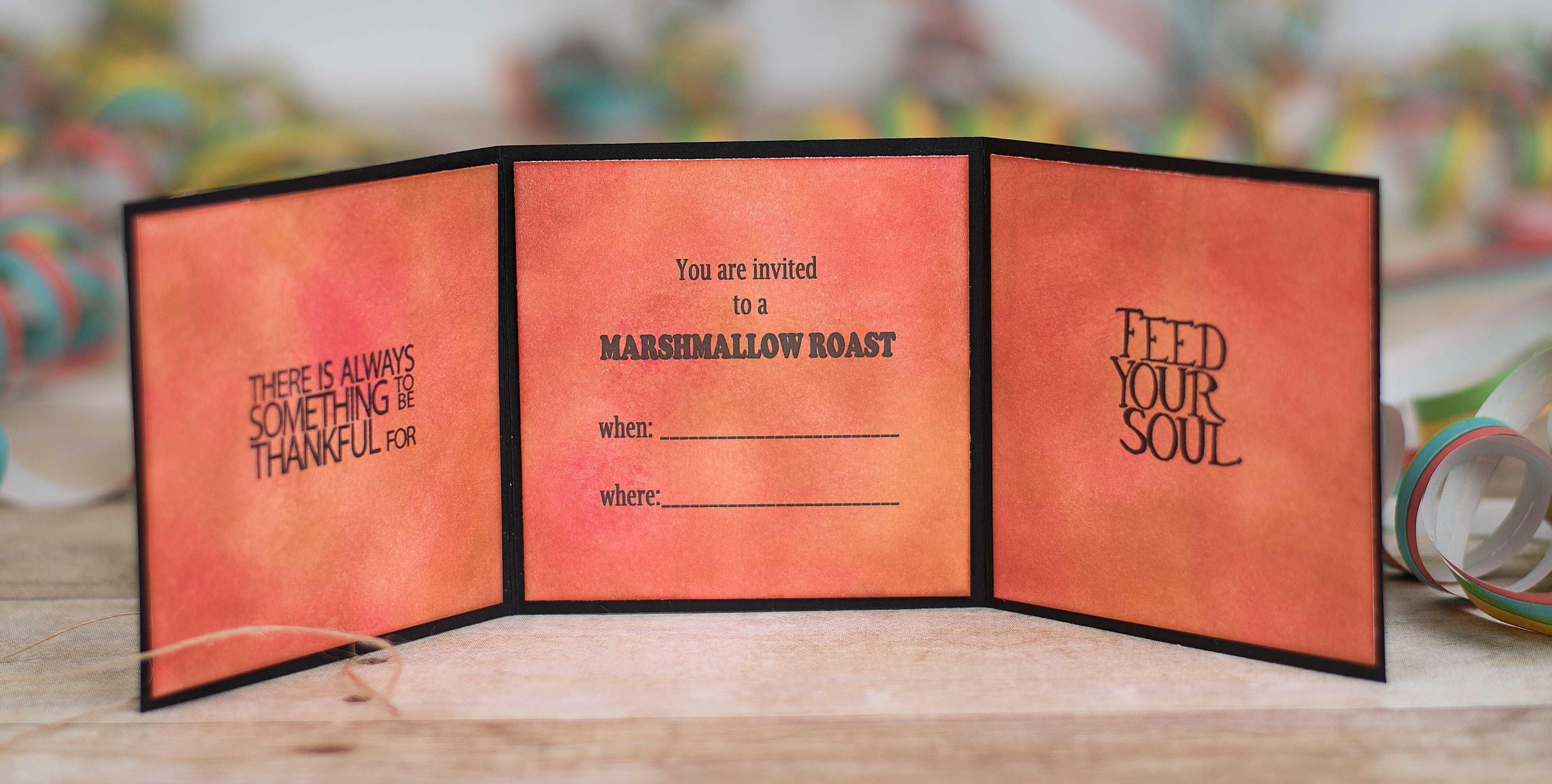 Campfire handmade invitation featuring Impression Obsession Stamps