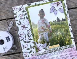 Details of a Scrapbook layout featuring Magnolia Lane by Stampin' Up! designed by Cathy Caines
