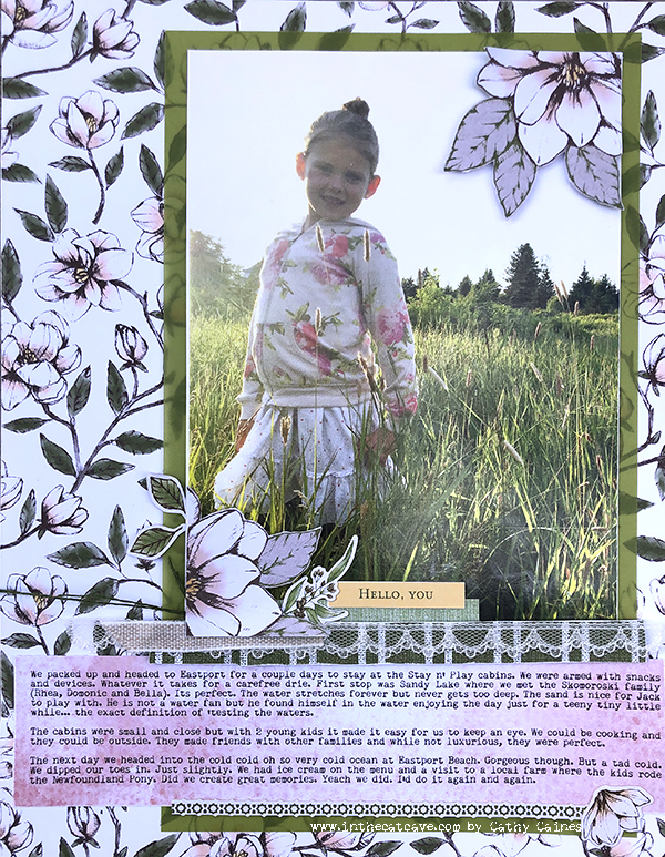 Scrapbook layout featuring Magnolia Lane by Stampin' Up! designed by Cathy Caines