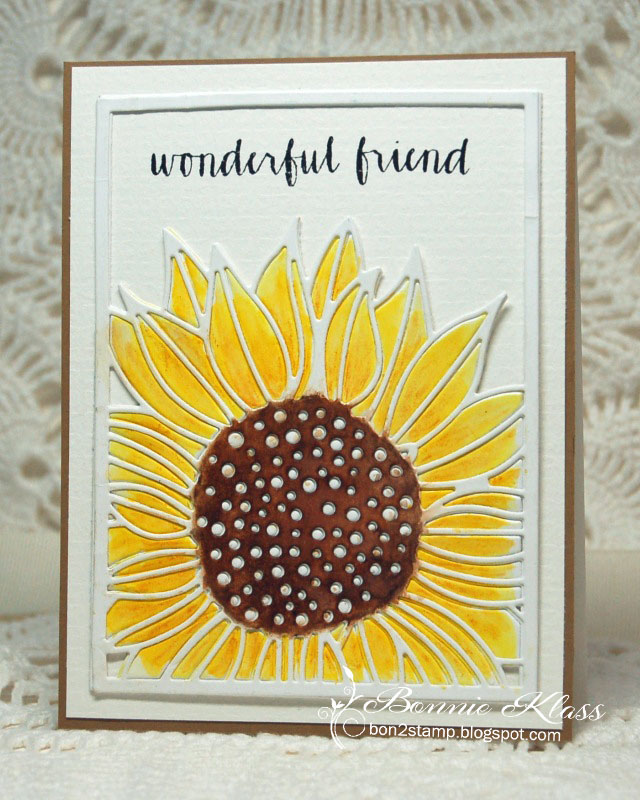 Card Designed by Bonnie Klass featuring a sunflower die by Impression Obsession