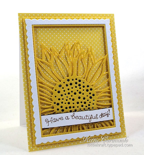 Card designed by Kittie Caracciolo featuring a sunflower die by Impression Obsession