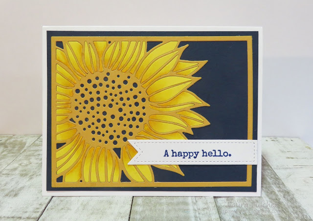 Card designed by Laura Fulcher featuring a sunflower die by Impression Obsession