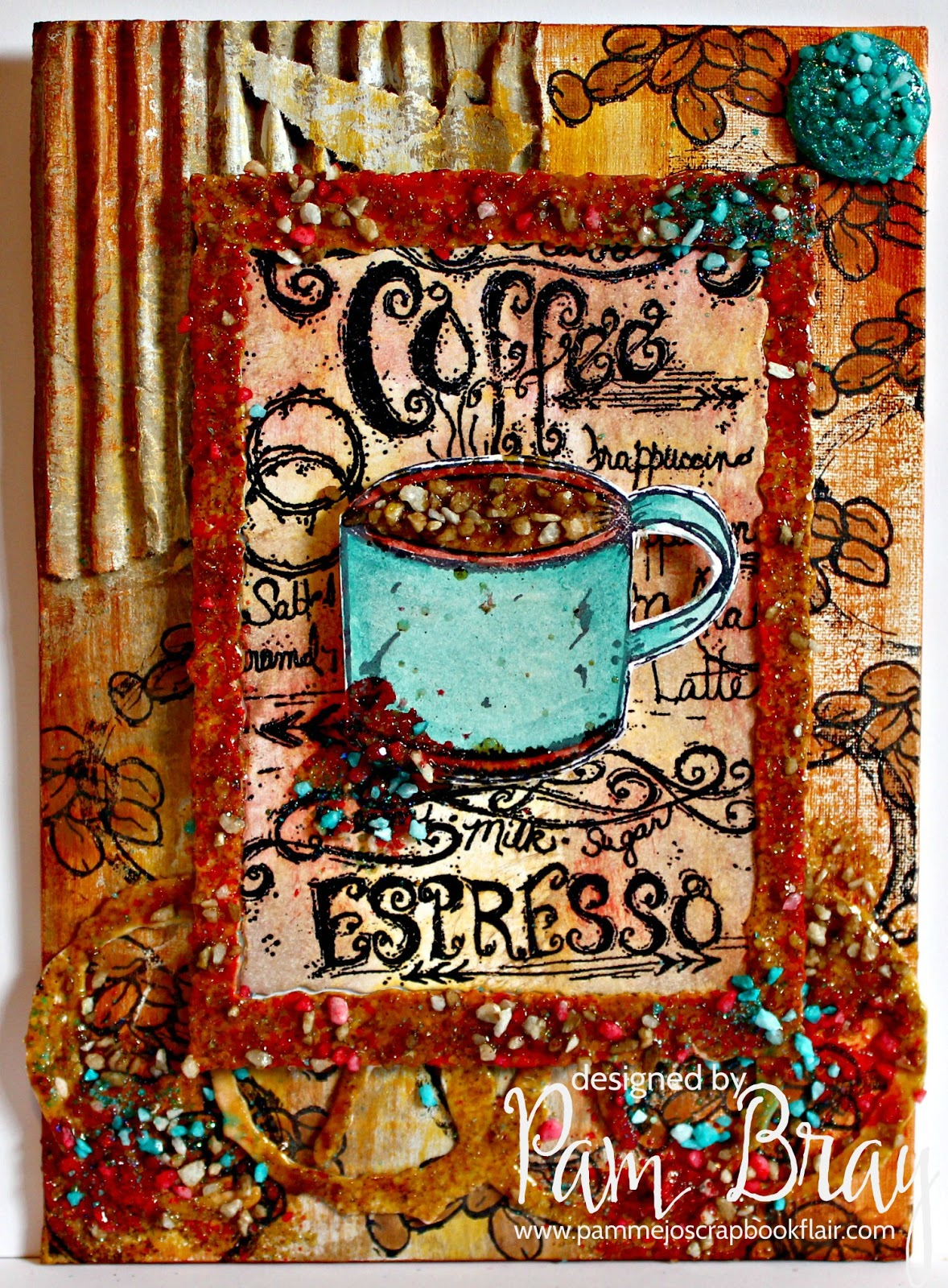 Coffee Mixed Media Canvas designed by Pam Bray featuring Emerald Creek Craft Supplies Rock Candy Embossing powder and Clearsnap ColorBox Blends ink