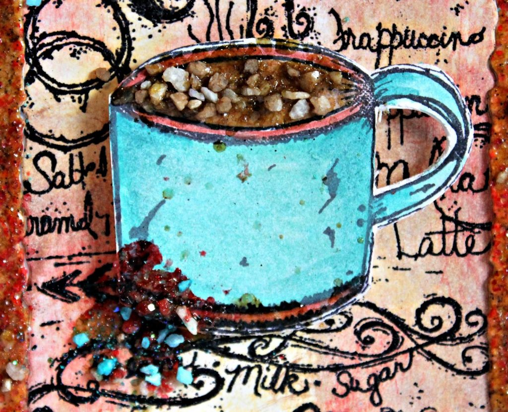 Details of a coffee mixed media canvas using Emerald Creek Craft Supplies Rock Candy embossing powder and stamps