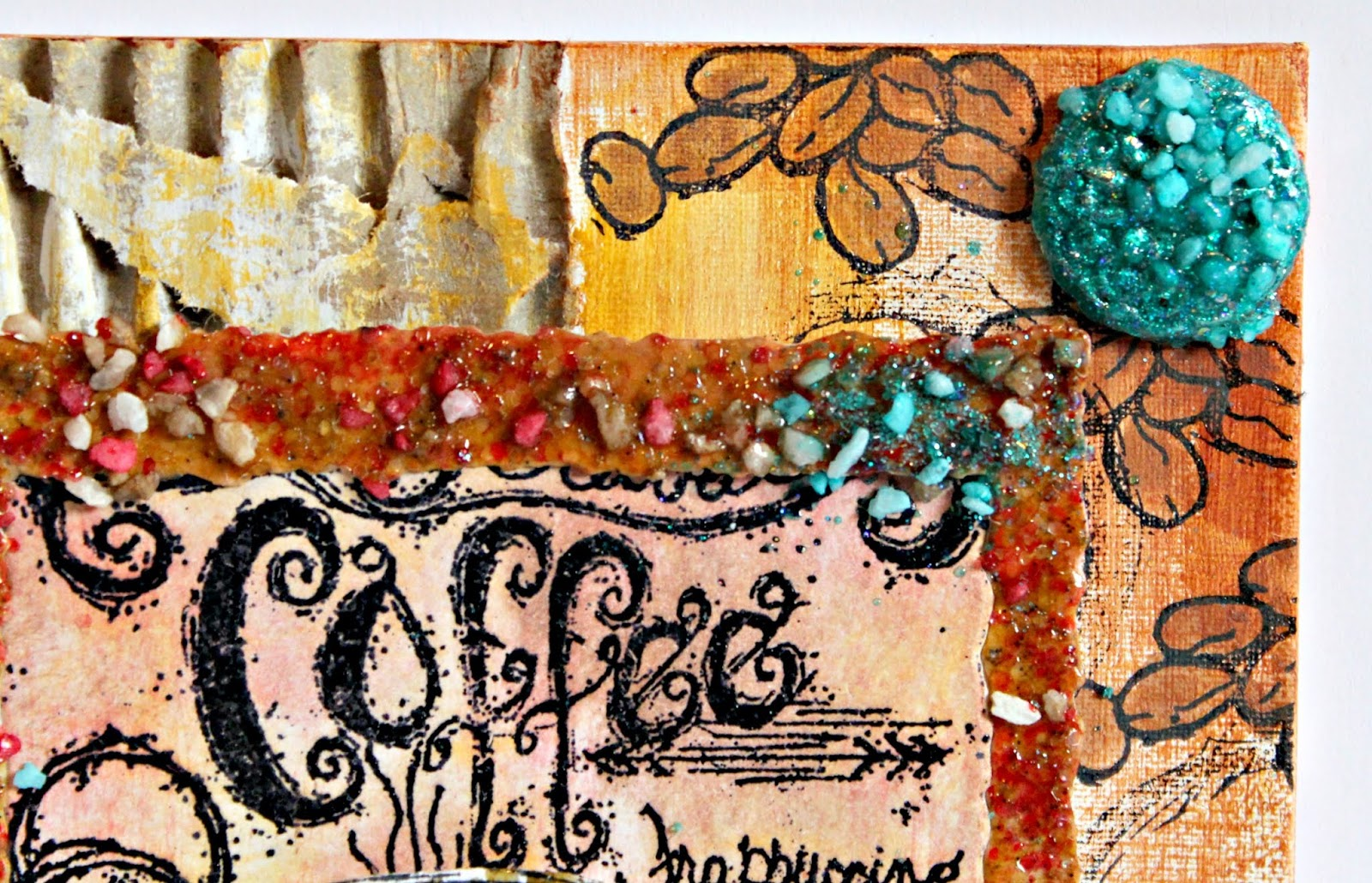 Details of a coffee mixed media canvas using Emerald Creek Craft Supplies Rock Candy embossing powder