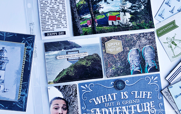 Details of a Scrapbook Layout about hiking designed by Cathy Caines featuring the Stampin' Up! Come Sail With Me Collection