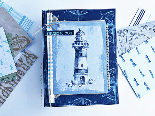 Lighthouse Scrapbook Card designed by Cathy Caines featuring the Stampin' Up! Come Sail With Me Collection