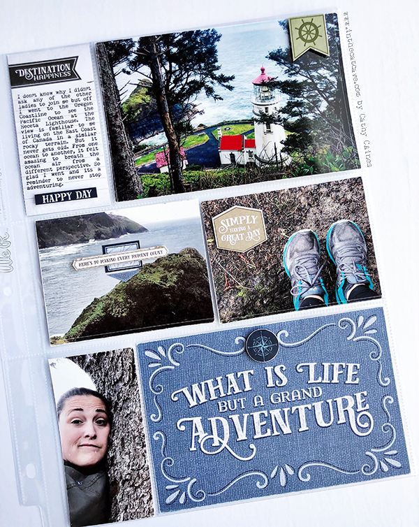 8 1/2 X 11 Scrapbook Layout about hiking designed by Cathy Caines featuring the Stampin' Up! Come Sail With Me Collection