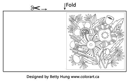 Free download August coloring card designed by Betty Hung - flowers