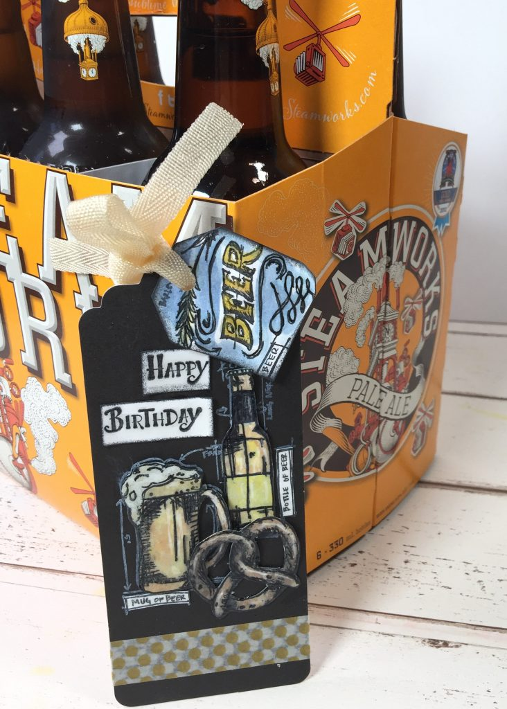 happy birthday scrapbook card added to a steamworks pale ale 6 pack
