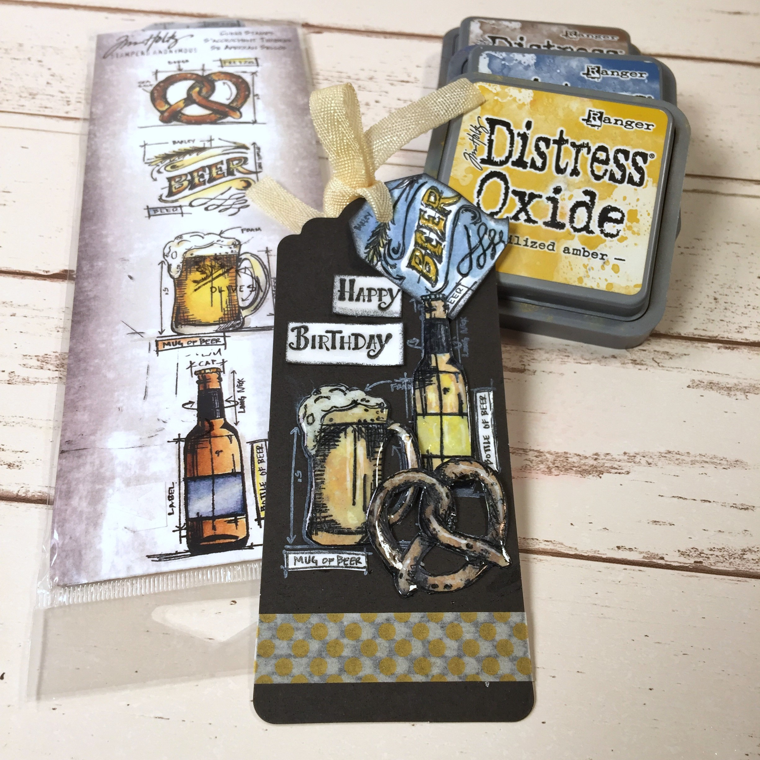 Beer Birthday Tag featuring Stampers Anonymous designed by Kerry Engel
