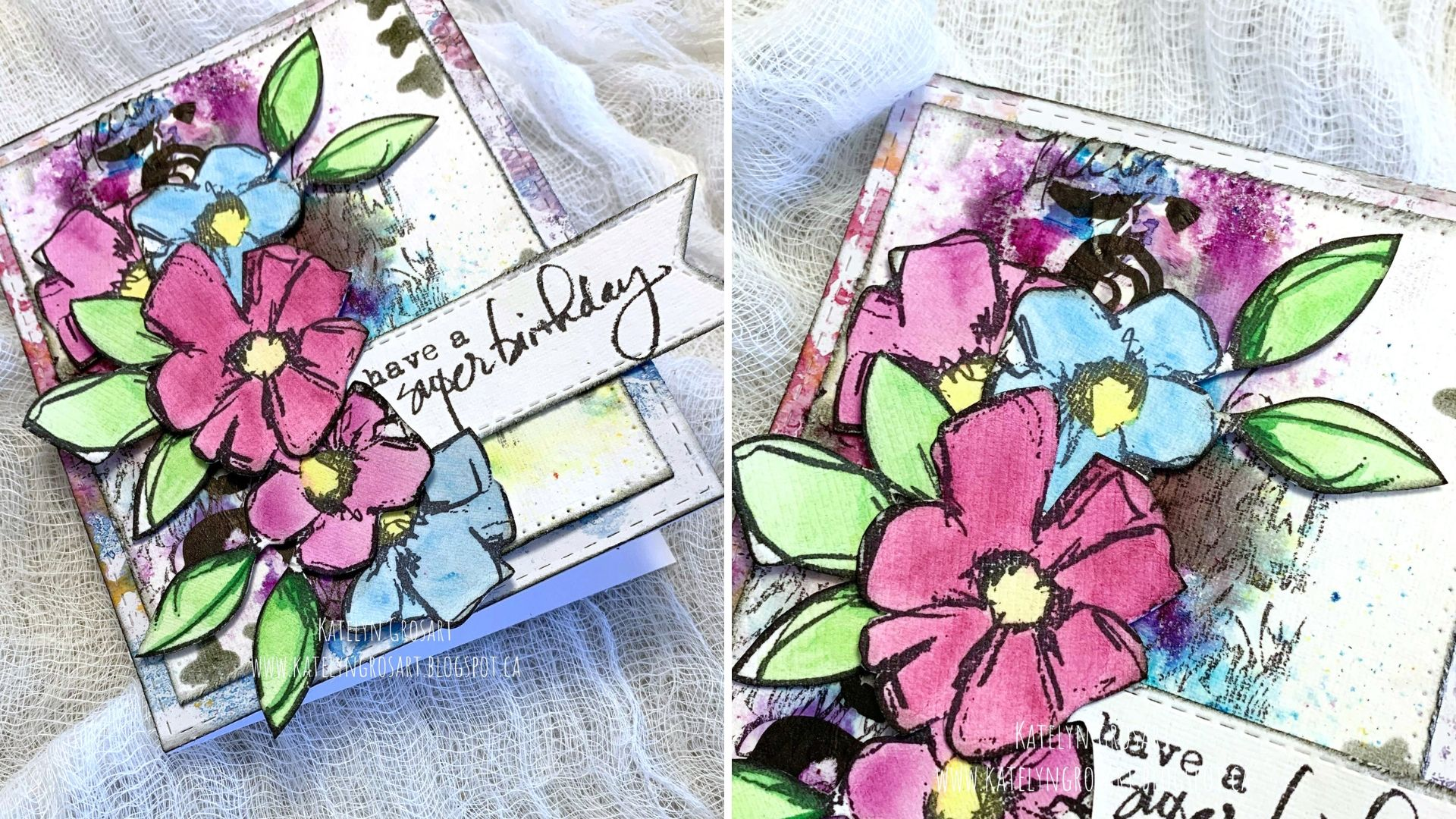 Details of a scrapbooked birthday card featuring Dina Wakley stamps, collage paper and scribble sticks, Brightly colored flowers outlined in black.