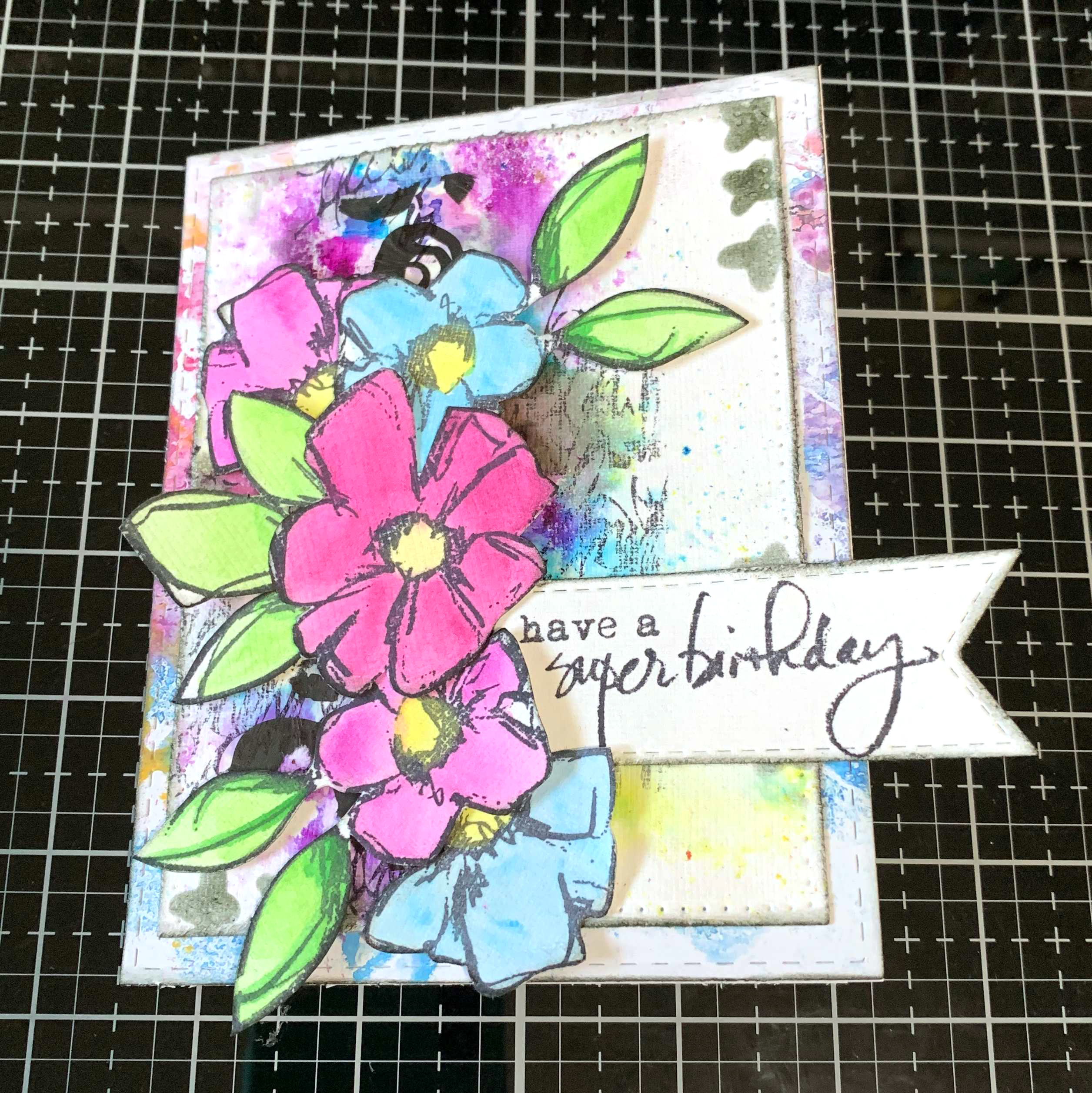 Birthday Card with flowers and bright colors. Featuring Dina Wakley stamps, dies and mediums. Designed by Katelyn Grosart