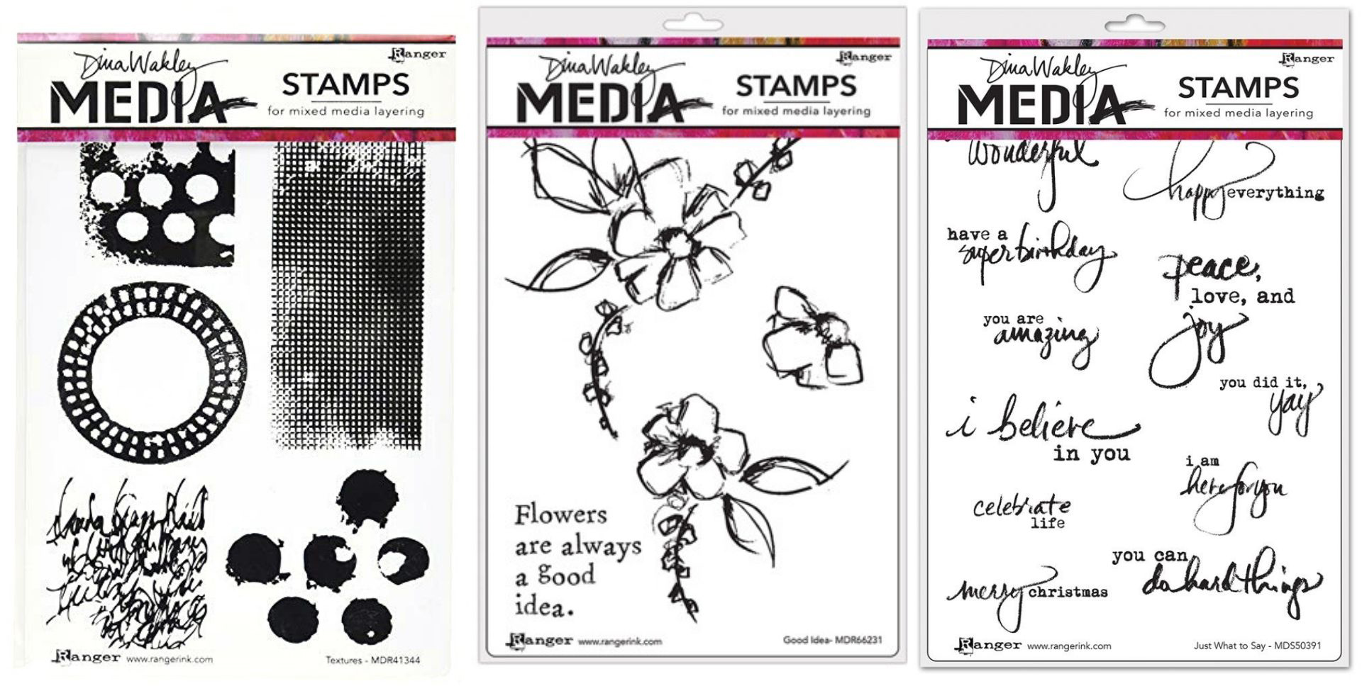 Dina Wakley Good Ideas, Just What To Say and Textures Stamp Sets