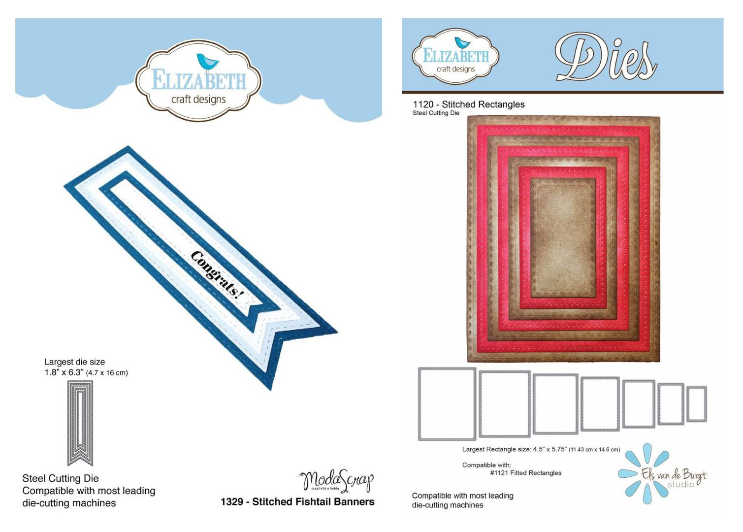Elizabeth Craft Designs Stitched Fishtail and Rectangle Dies