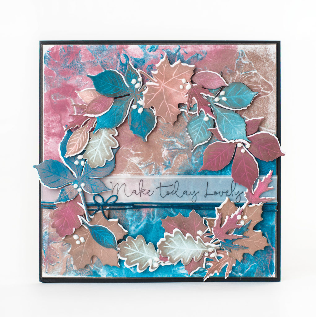 Handmade Greeting Card designed by Cathie Allan featuring Impression Obsession leaf dies and stamps and Clearsnap ColorBox petal point ink pads.