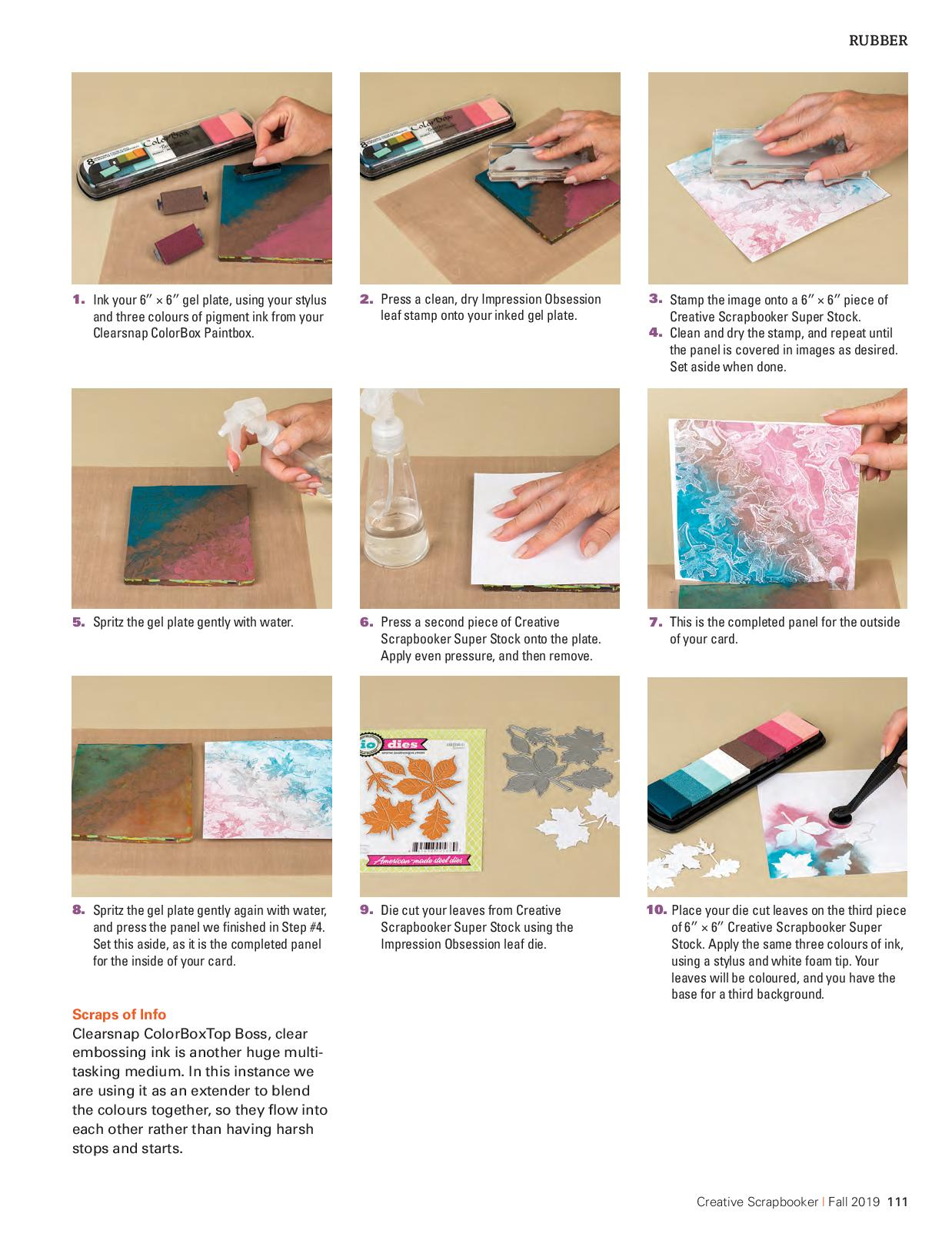 Step by Step photos of creating a greeting card featuring Impression Obsession stamps and dies and Clearsnap ColorBox paintbox pigment ink pads.