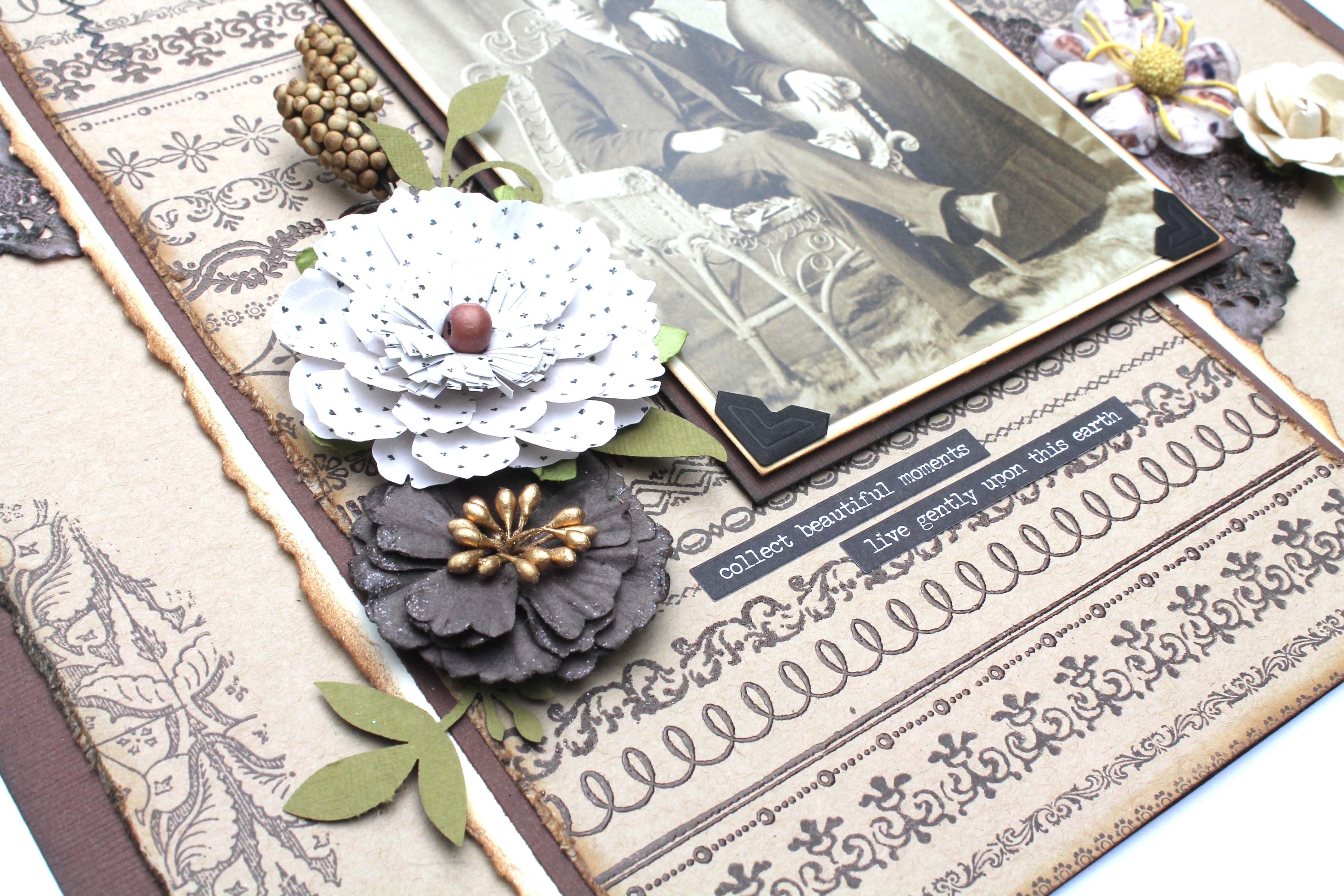 Heritage Layout featuring Prima Marketing Flowers and Leaves