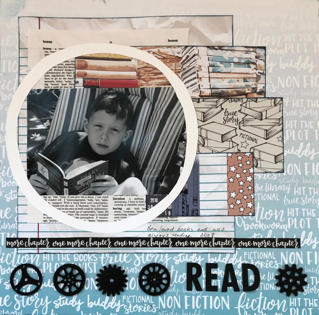 scrapbooking example featuring a black and white image of a child reading a book