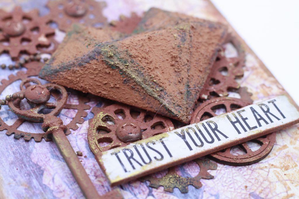 Scrapbook tag featuring Prima Marketing Rust Paste