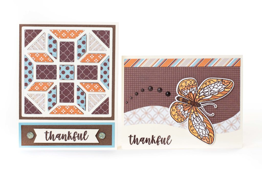 two scrapbooking cards about being thankful, featuring a butterfly