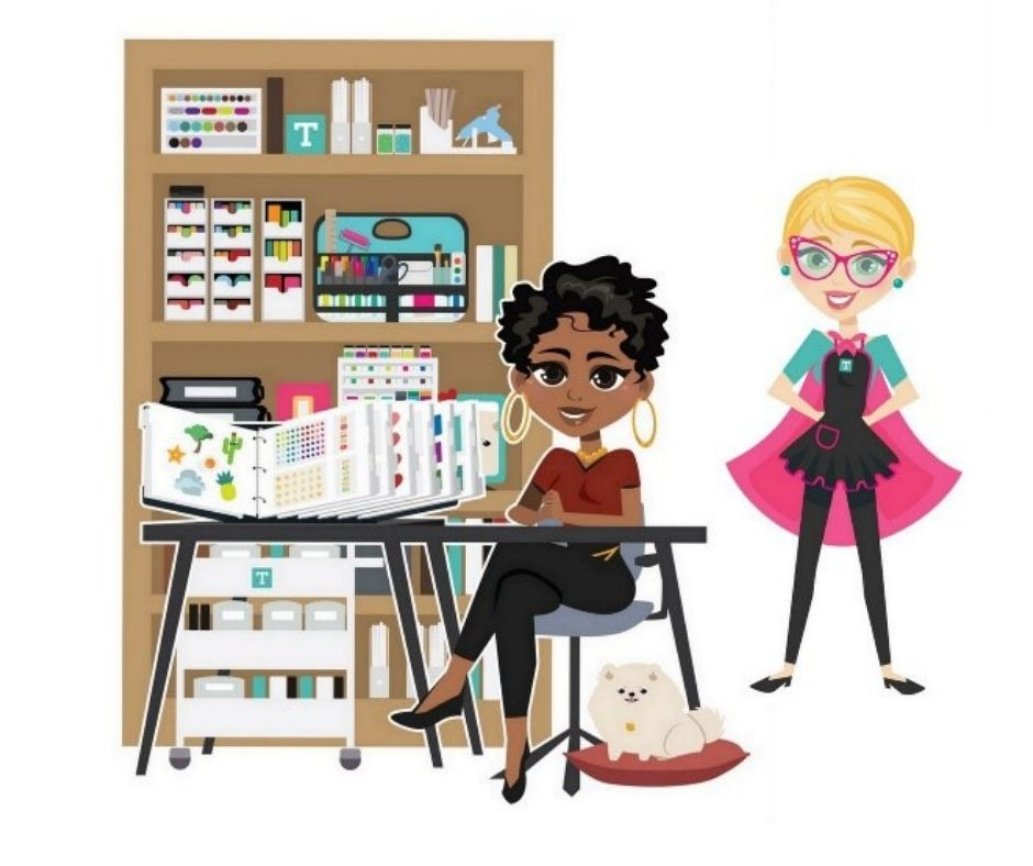 illustration of two women near a bookshelf, one unironically wearing a cape