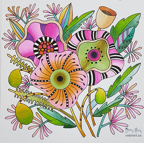Floral illustration by Betty Hung featuring Chameleon Color Tone Pens. FREE DOWNLOAD