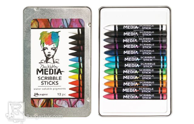 Dina Wakley Scribble Stick crayons for paper crafting in a variety of different colors.