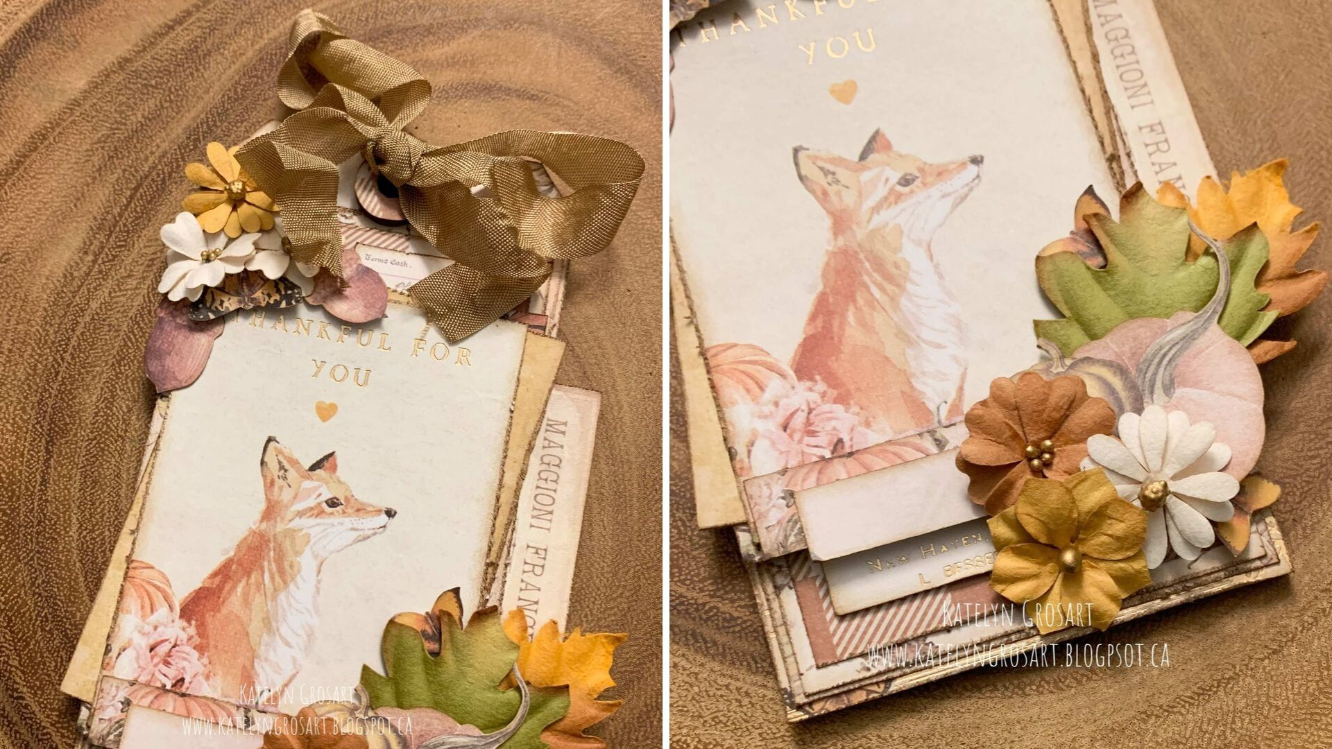 Detail images of a vintage thankful tag for autumn featuring the Prima Marketing Autumn Sunset collection in soft fall colors.