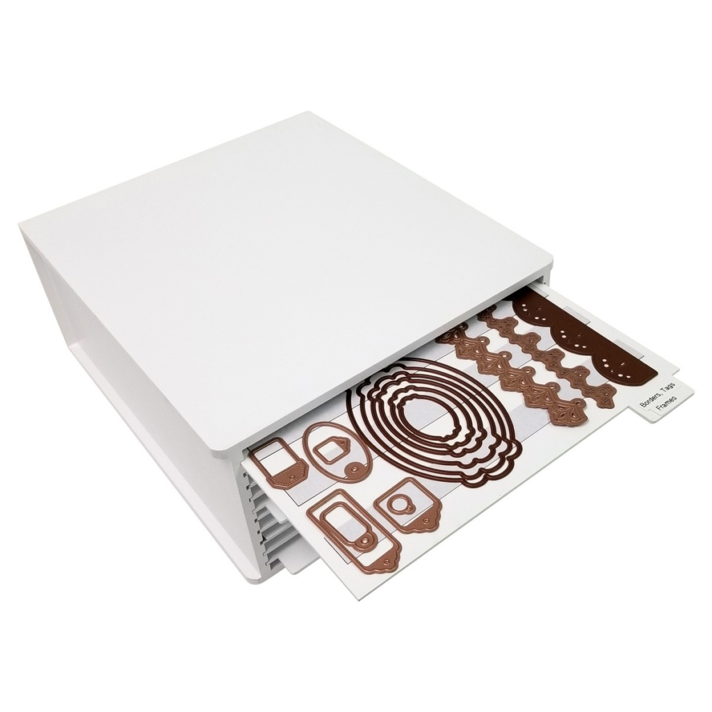 Square die file storage unit that has magnetic compartments to store your metal dies designed by Totally-Tiffany