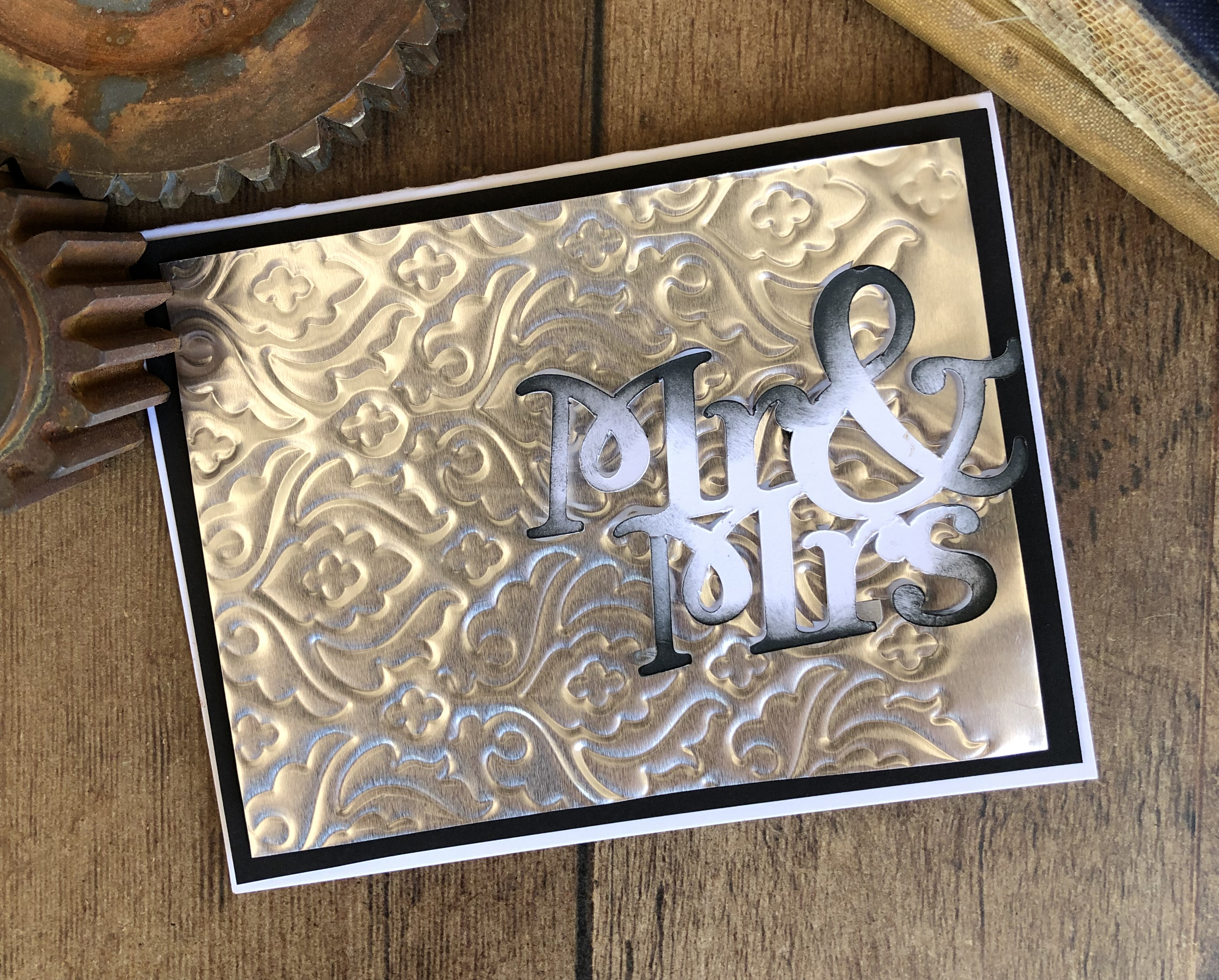 Wedding Card featuring embossing done on a Brother ScanNCut on silver foil paper.