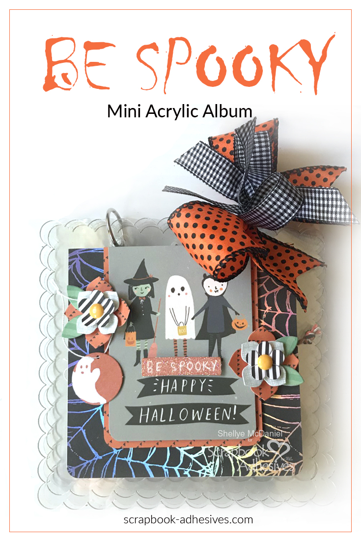 Halloween Treats Spooky scrapbook album cover with ghosts and witches designed by Shellye McDaniel featuring Scrapbook Adhesives by 3L