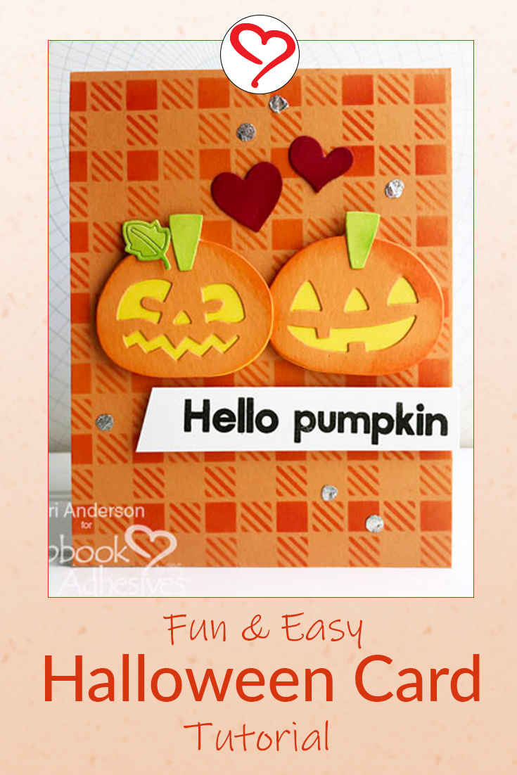 Halloween Treats scrapbook card with happy jack o lantern pumpkins on the card front designed by Teri Anderson featuring Scrapbook Adhesives by 3L