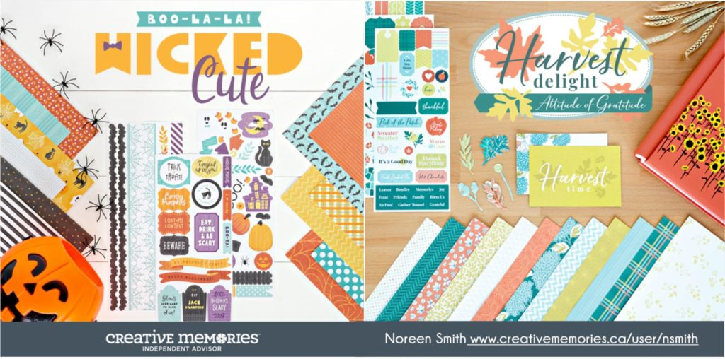 Harvest Delight and Wicked Cute Paper Crafting Collection for Scrapbooking by Creative Memories - Fall and Halloween themed paper products.