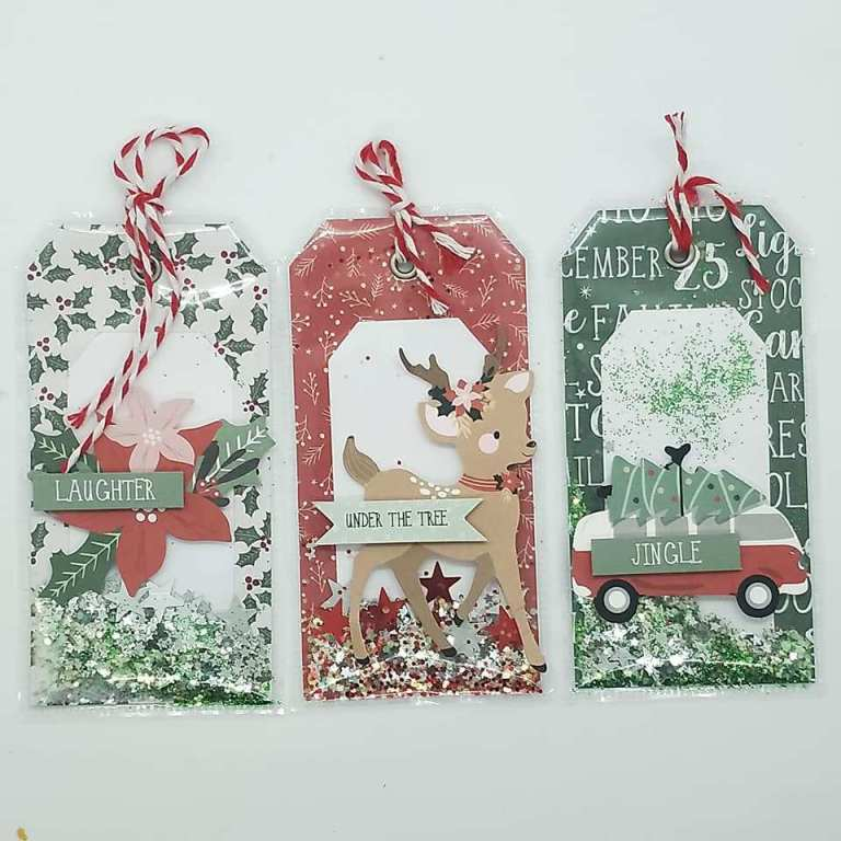 Christmas Shaker Box Tags featuring Kaisercraft Peppermint Kisses collection for paper crafting and card making.