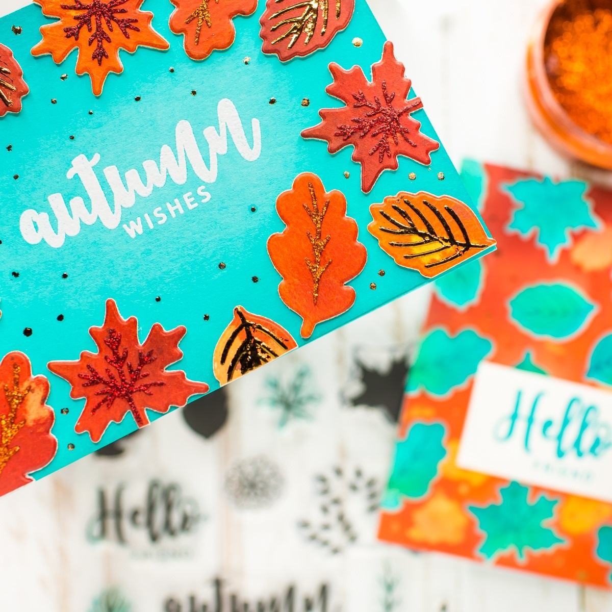 Autumn cards in bright colors designed with stamps and stencils by Therm O Web Gina K. Designs