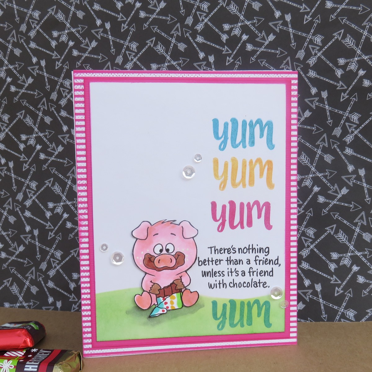 Scrapbook card with a cute pig on it featuring Powder Puff Chalk Inks by Quick Quotes