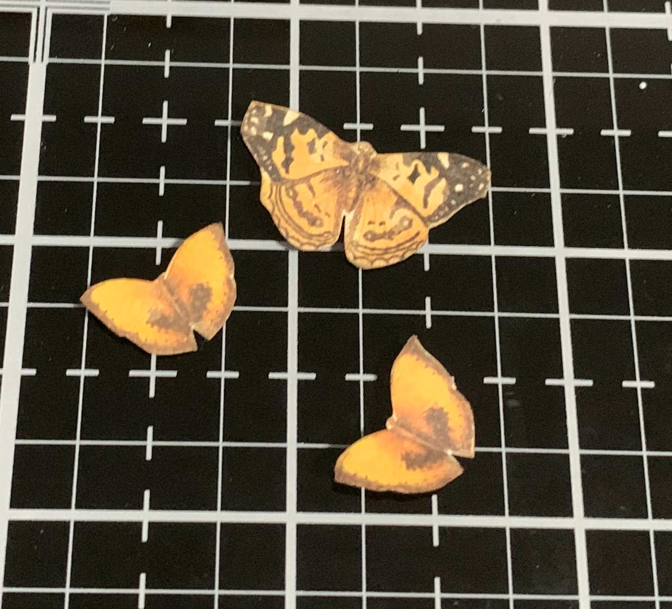 Ephemera yellow paper butterflies from the Prima Marketing Autumn Sunset scrapbooking collection