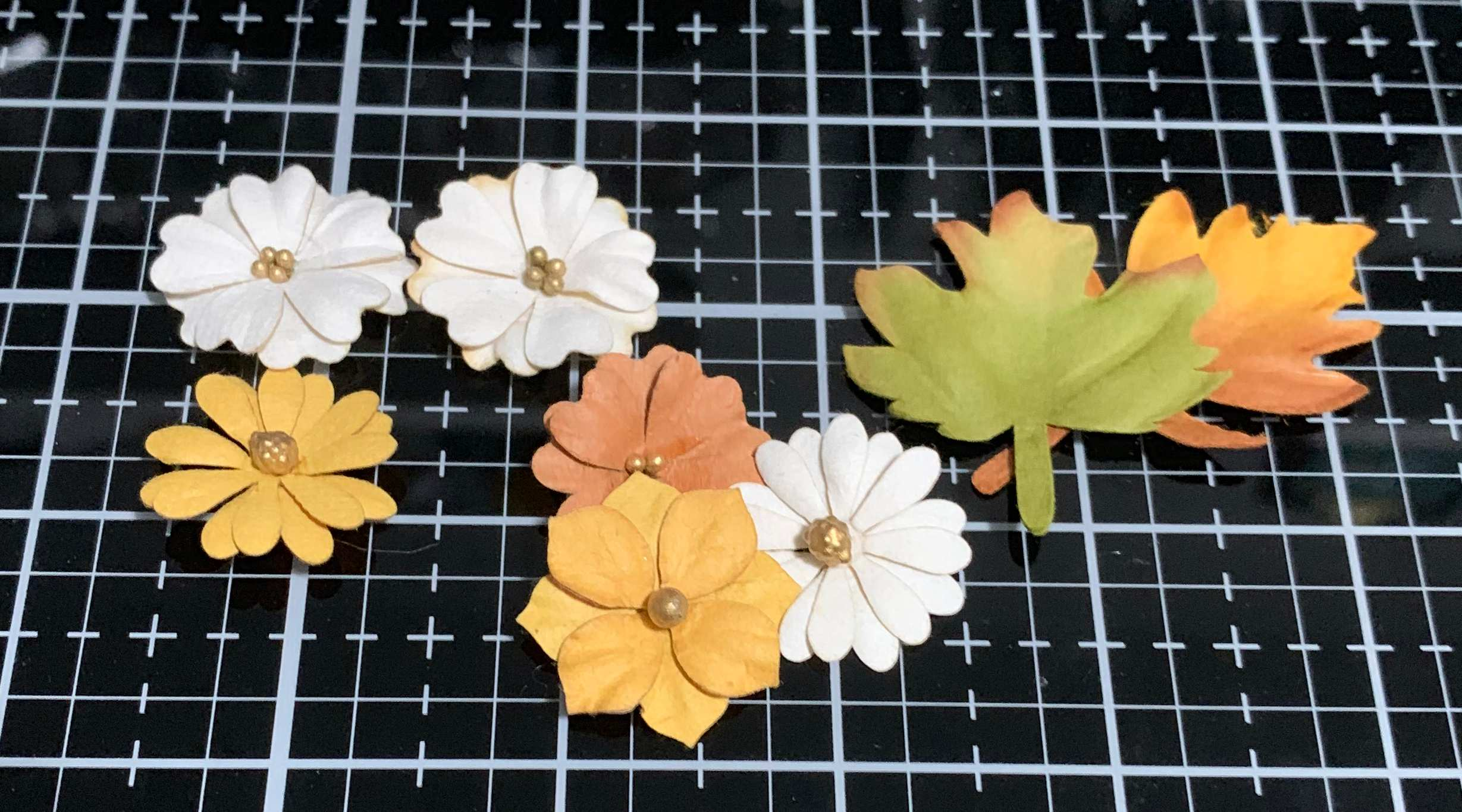 Flowers and leaves from the Prima Marketing Autumn Sunset Collection